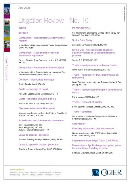 Litigation Review - No  19 - Ogier
