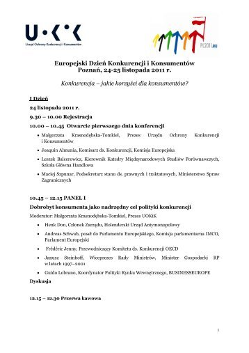 Europejski Dzień Konkurencji i Konsumentów - Prezydencja UOKiK ...