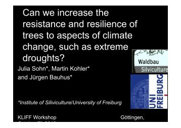 Can we increase the resistance and resilience of trees to ... - KLIFF