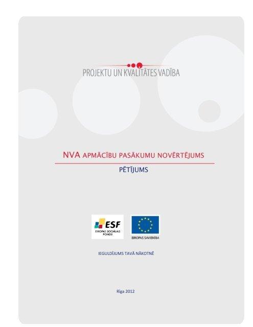 """Pētījums """"NVA Apmācību pasākumu novērtējums"""" - Nodarbinātības ..."""