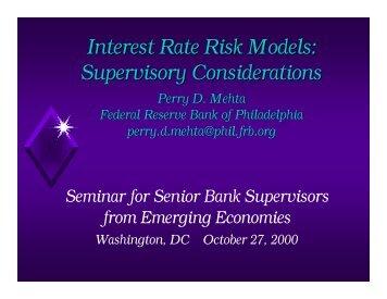 Interest Rate Risk Models: Supervisory Considerations - World Bank
