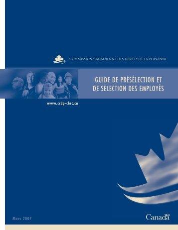 guide de présélection et de sélection des employés - Commission ...