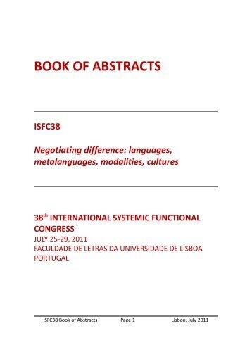 Abstracts - Faculdade de Letras da Universidade de Lisboa
