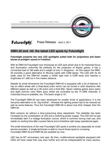 DMH-30 and -40: the latest LED spots by Futurelight