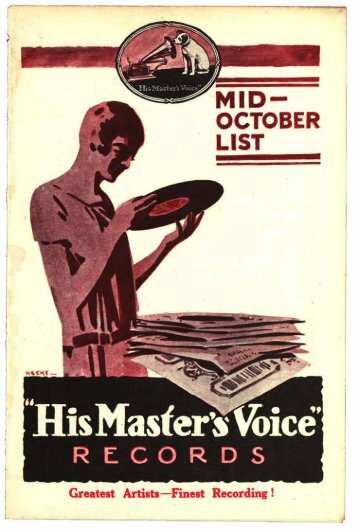 His Master's Voice Mid Monthly List October 1925