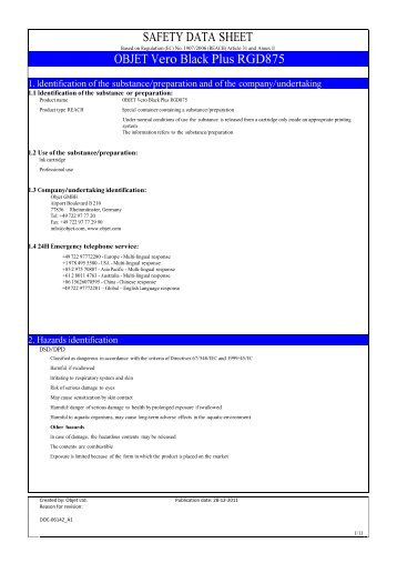 SAFETY DATA SHEET OBJET Vero Black Plus ... - Laser Lines Ltd.