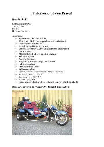 Trikeverkauf von Privat