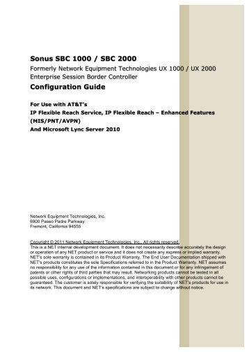 Sonus SBC 1000 / SBC 2000 Configuration Guide - Sonus Networks
