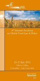 4th Summer Academy on Global Food Law & Policy 23-27 July 2012