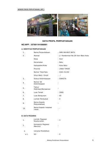 Nomor Pokok Perpustakaan - Badan Perpustakaan dan Kearsipan ...