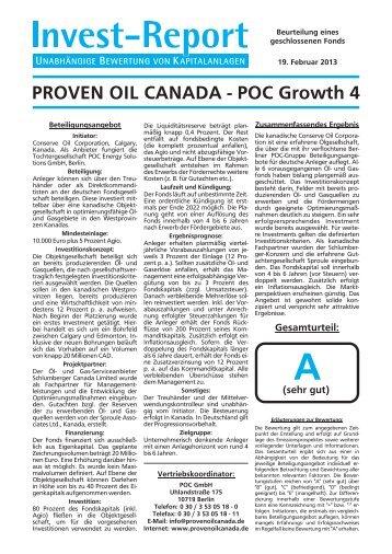 Invest-Report zum POC Growth 4 - und Gasbeteiligungen :: Proven ...