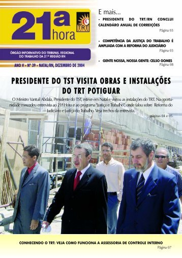 presidente do tst visita obras e instalações do trt potiguar - Tribunal ...