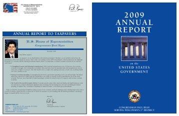 2009 ANNUAL REPORT - Paul Ryan - U.S. House of Representatives