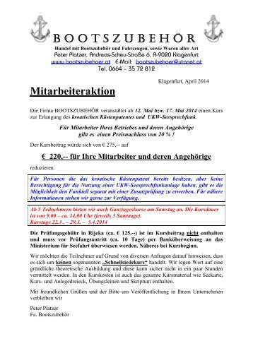 Kroatisches Küstenpatent & UKW-Seesprechfunk - Klagenfurt