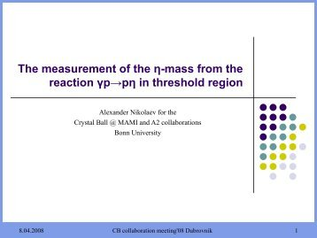 The measurement of the η-mass from the reaction γp ... - A2 Mainz