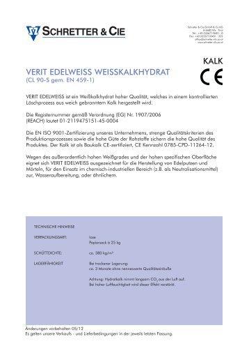 VERIT EDELWEISS WEISSKALKHYDRAT KALK - Schretter & CIE