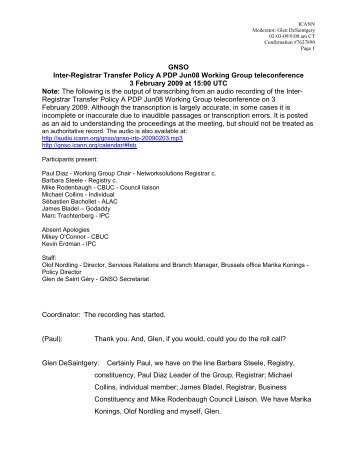 Transcript - GNSO - icann