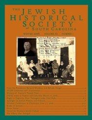 winter 2006 volume xi - Jewish Historical Society of South Carolina