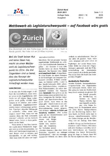 Wettbewerb als Legislaturschwerpunkt auf Facebook wärs ... - eZürich