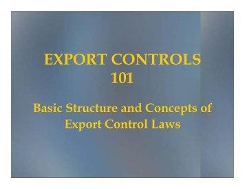 Export Controls 101-1