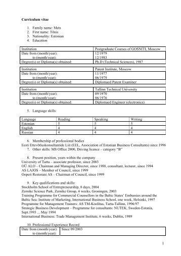 1 Curriculum vitae 1. Family name: Mets 2. First name: Tõnis 3 ...
