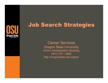 Job Search Strategies - Oregon State University