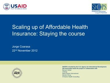Scaling up of Affordable Health Insurance ... - (SHOPS) project