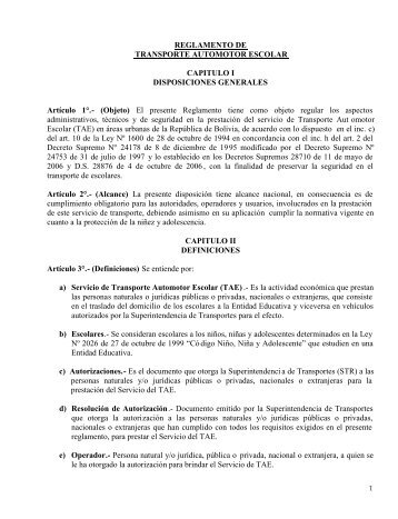 REGLAMENTO DE TRANSPORTE AUTOMOTOR ESCOLAR ...