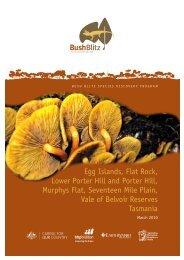 egg islands, Flat rock, lower porter hill and porter hill ... - BushBlitz