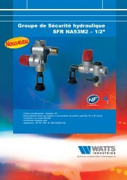 "Groupe de Sécurité hydraulique SFR NA53M2 – 1/2"" - Watts Industries"