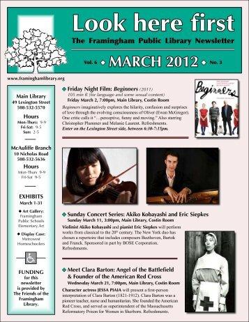 March 2012 - Framingham Public Library