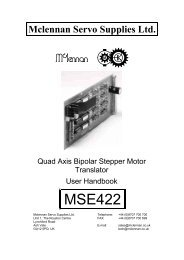MSE422 - Stepper Drive datasheet - Mclennan Servo Supplies Ltd.