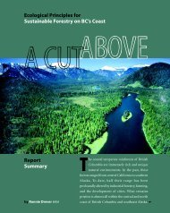 A Cut Above: Ecological Principles for Sustainable Forestry on BC's ...