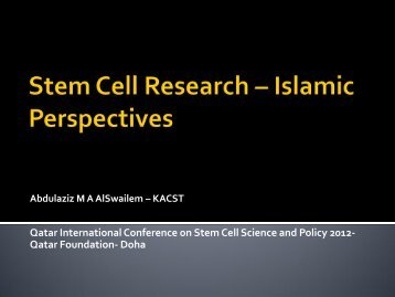Stem Cells on Research- Islamic Perspectives - Qf-research-division ...