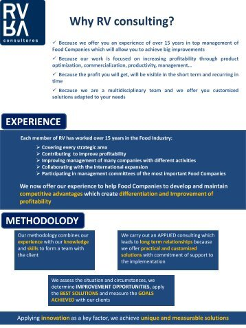 Why RV consulting? EXPERIENCE METHODOLODY - RV consultores