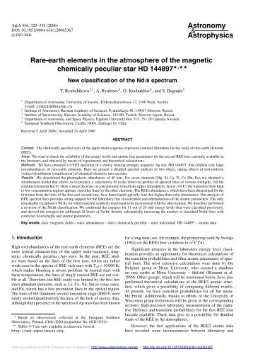 Rare-earth elements in the atmosphere of the magnetic chemically ...
