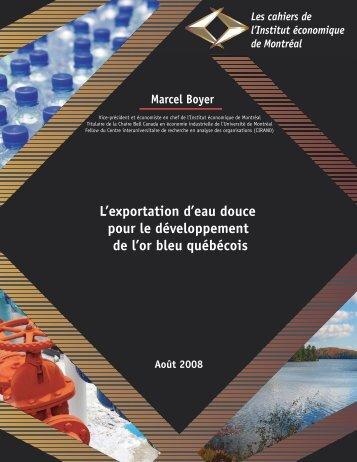 L'exportation d'eau douce pour le développement de l'or ... - IEDM