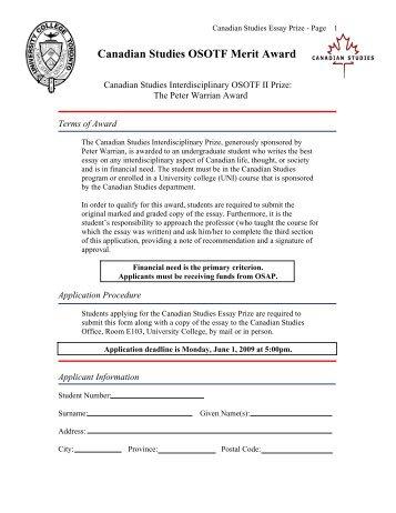 Canadian Studies OSOTF Merit Award - University College