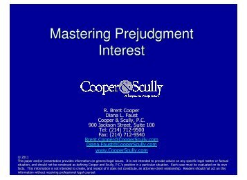 Mastering Prejudgment Interest - Cooper & Scully, PC
