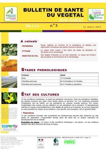 Bulletin de sante du vegetal draaf midi pyr n es - Chambre agriculture poitou charentes ...