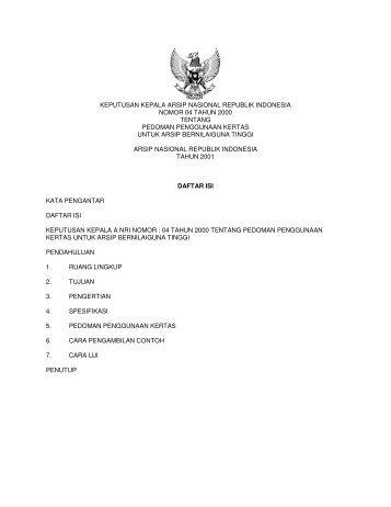 keputusan kepala arsip nasional republik indonesia nomor 04 tahun ...