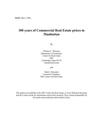 100 years of Commercial Real Estate prices in Manhattan - MIT