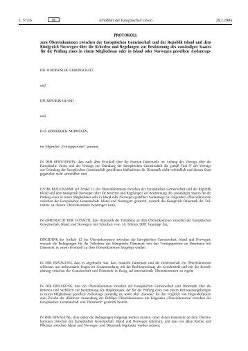 Protokoll zur Ausweitung von Dublin auf Island und Norwegen - unhcr