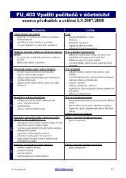 FU_403 Využití počítačů v účetnictví osnova přednášek a cvičení LS ...