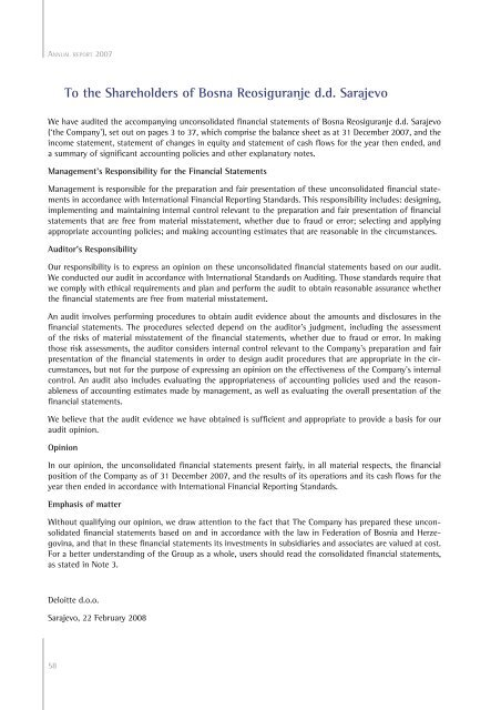 NOTES TO BOSNA RE Co. Ltd. ANNUAL REPORT FOR 2007