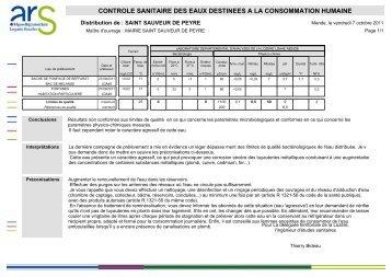 voir les résultats arrivés en mairie ce jour - Saint Sauveur de Peyre