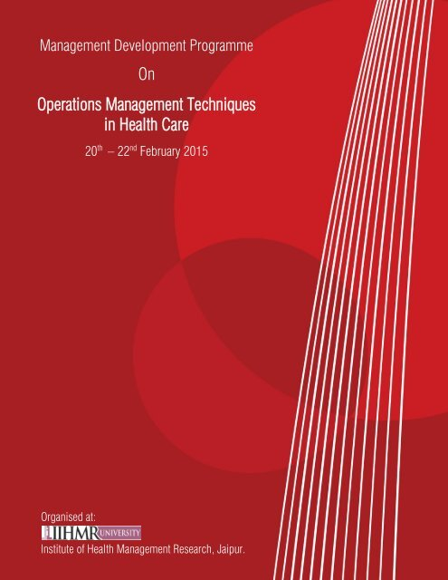 MDP - Operations Management Techniques in Health Care (20 - 22 Feb 2015)