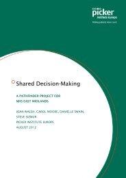 Shared Decision Making - A pathfinder project for NHS East Midlands