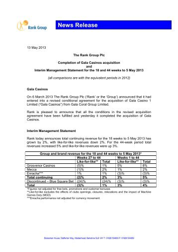 Completion of Gala Acquisition and IMS (PDF 170 KB) - Rank Group