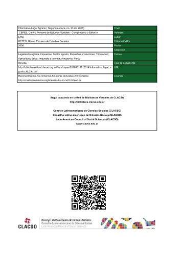 Informativo Legal Agrario - Red de Bibliotecas Virtuales - Clacso